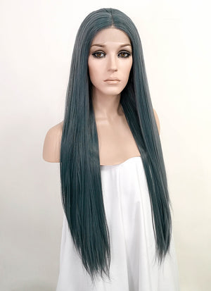 Ash Blue Straight Lace Front Synthetic Wig LF3151