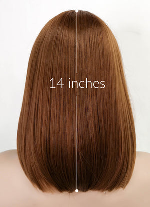 Brown Straight Bob Lace Front Synthetic Wig LF3162