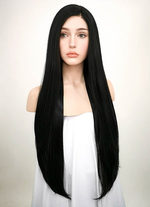 Straight Jet Black Lace Front Synthetic Wig LF327