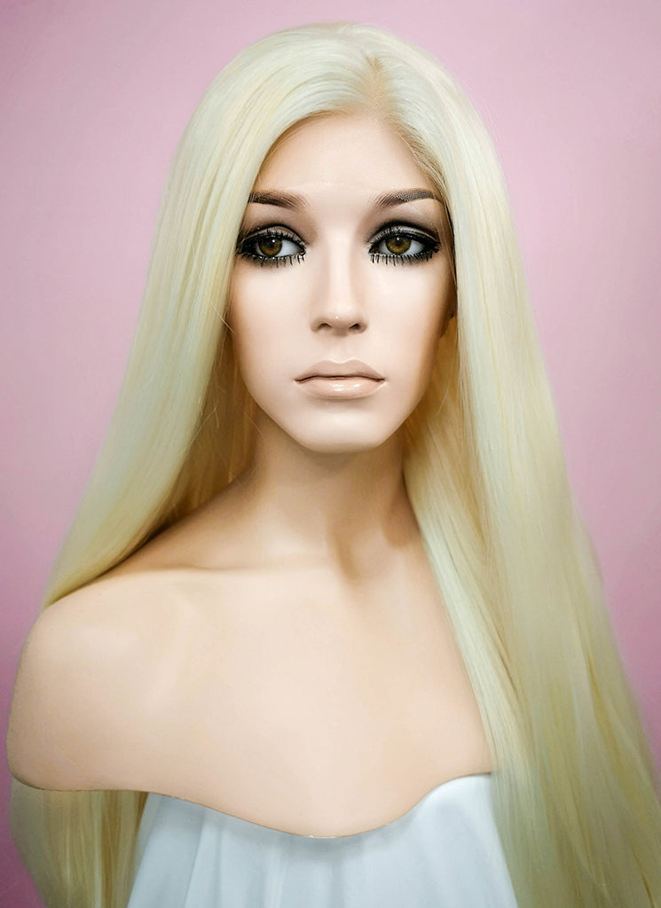 Straight Light Blonde Lace Front Synthetic Wig LF338