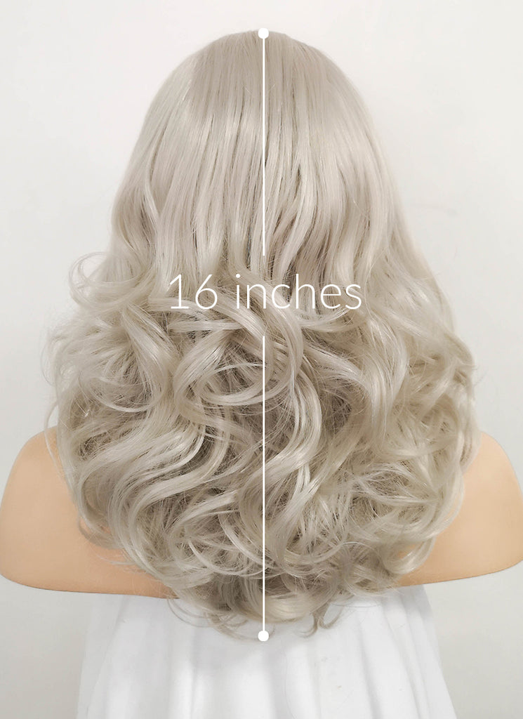 Blondish Grey Wavy Bob Lace Front Synthetic Wig LF369