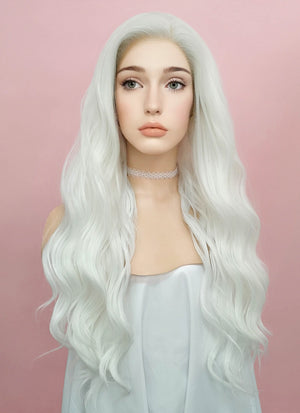 Wavy White Lace Front Synthetic Wig LF388