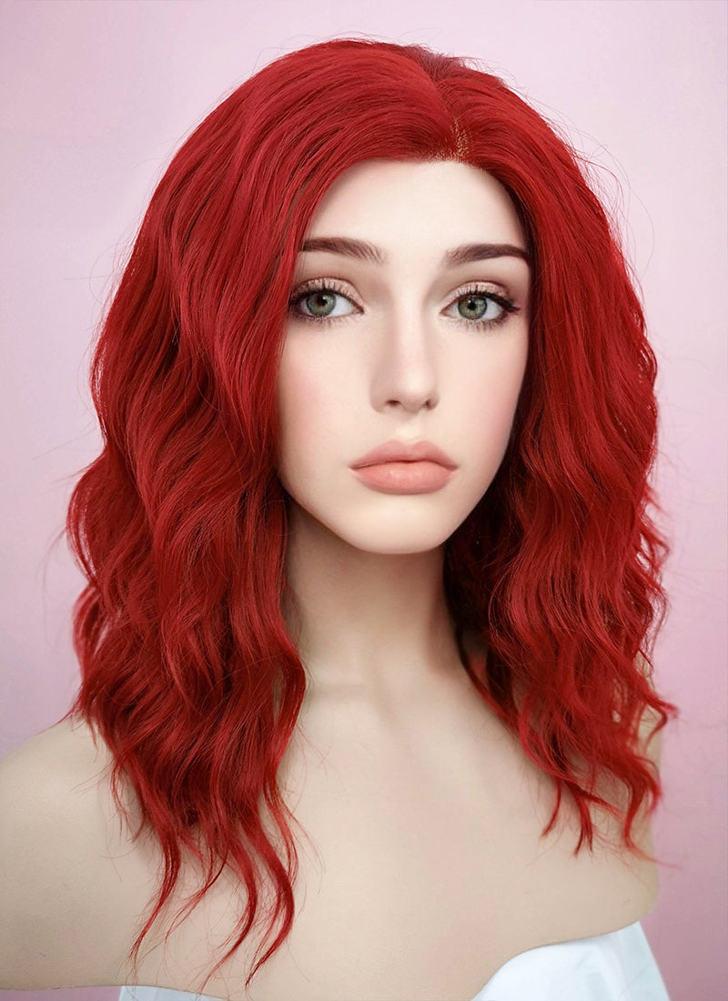 Red Wavy Bob Lace Front Synthetic Wig LF408