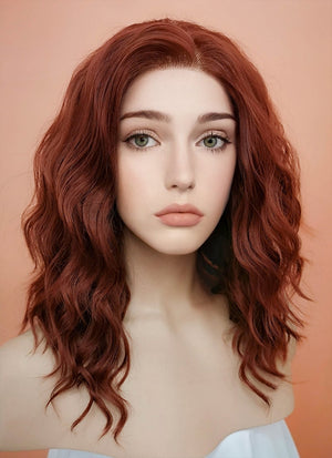 Auburn Wavy Bob Lace Front Synthetic Wig LF409