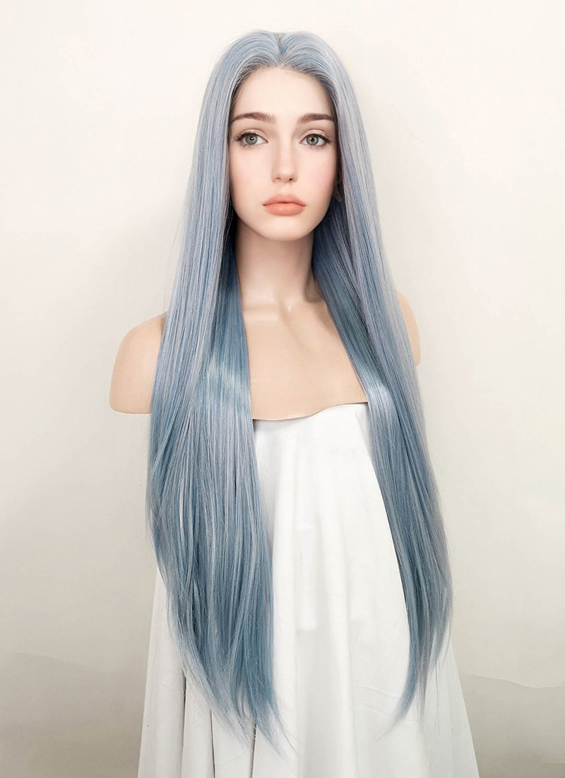 Ash Blue Straight Lace Front Synthetic Wig LF5006