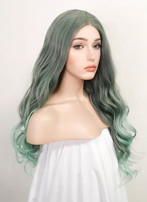 Two Tone Green Wavy Lace Front Synthetic Wig LF5032