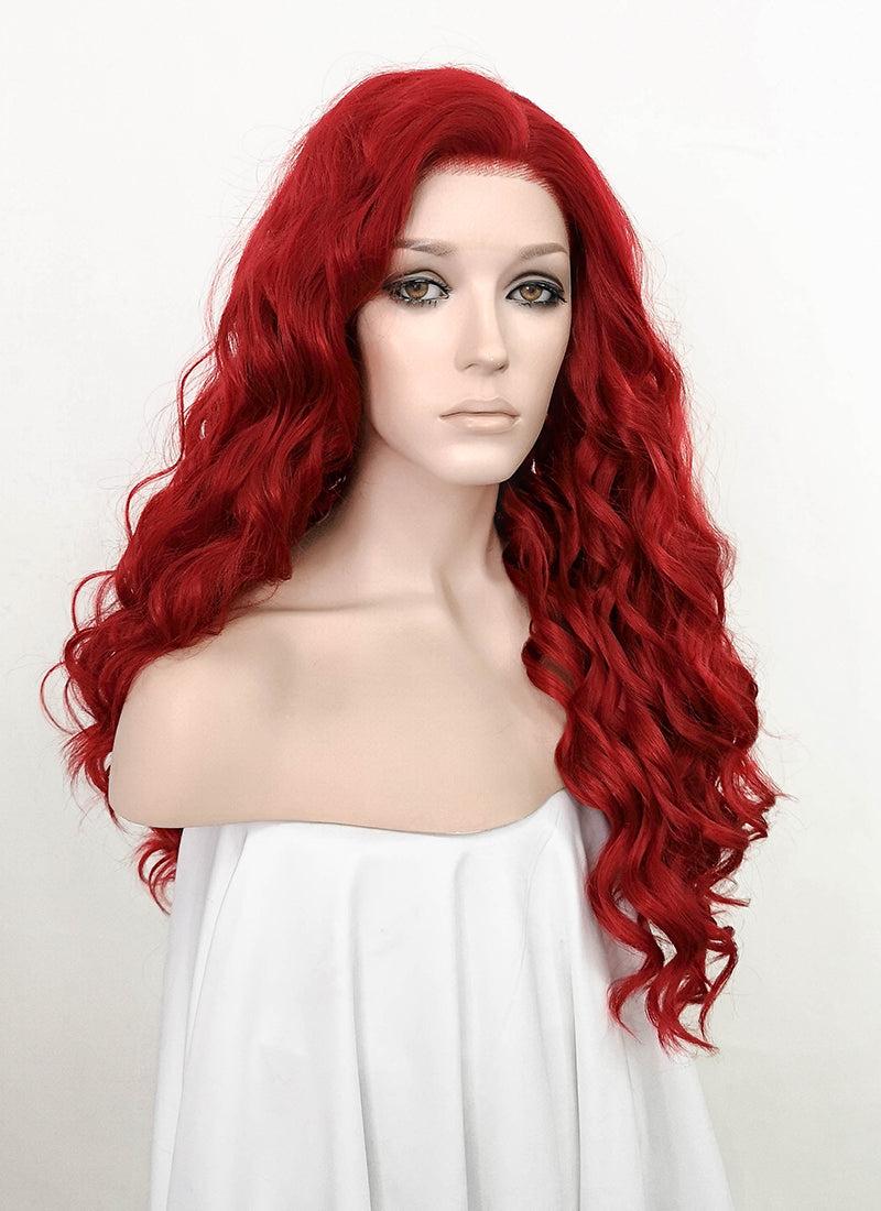 Red Wavy Lace Front Synthetic Wig LF5066