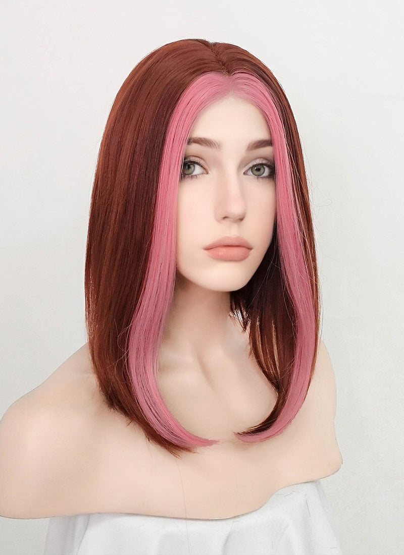 Auburn Mixed Pink Straight Bob Lace Front Synthetic Wig LF5075