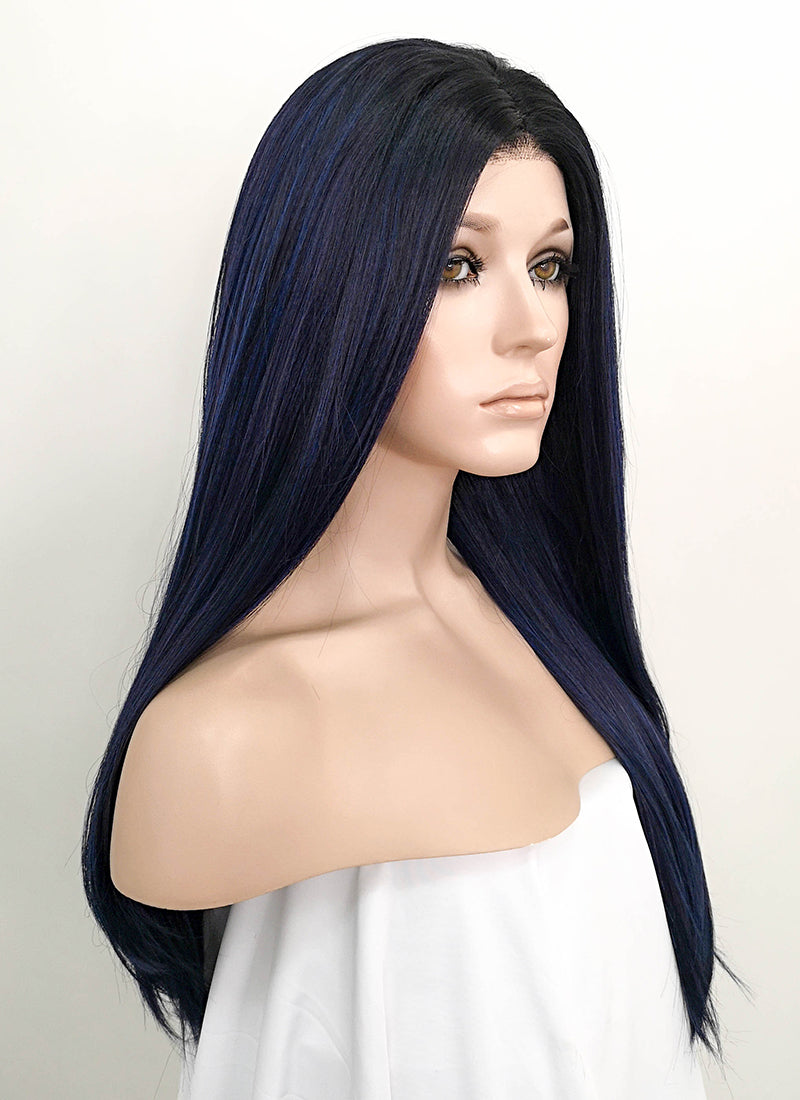 Dark Blue With Dark Roots Straight Lace Front Synthetic Wig LF512