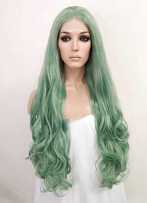 Green Wavy Lace Front Synthetic Wig LF522