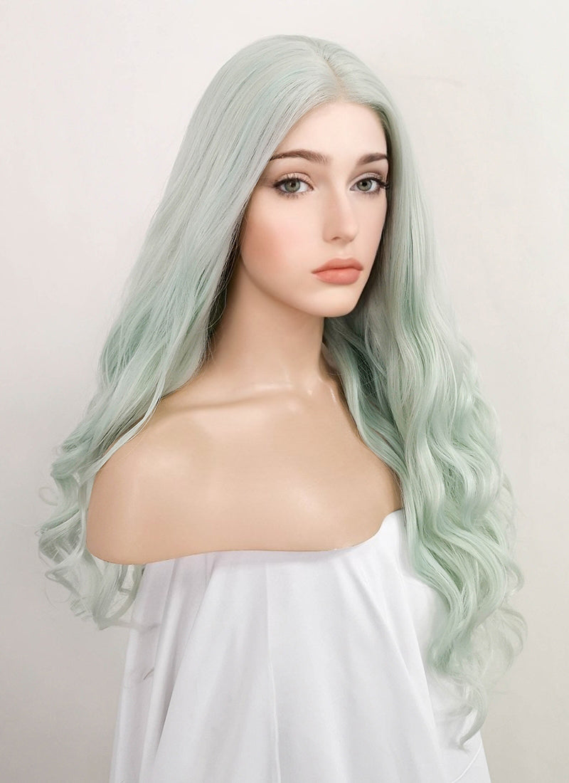 Pastel Green Wavy Lace Front Synthetic Wig LF523