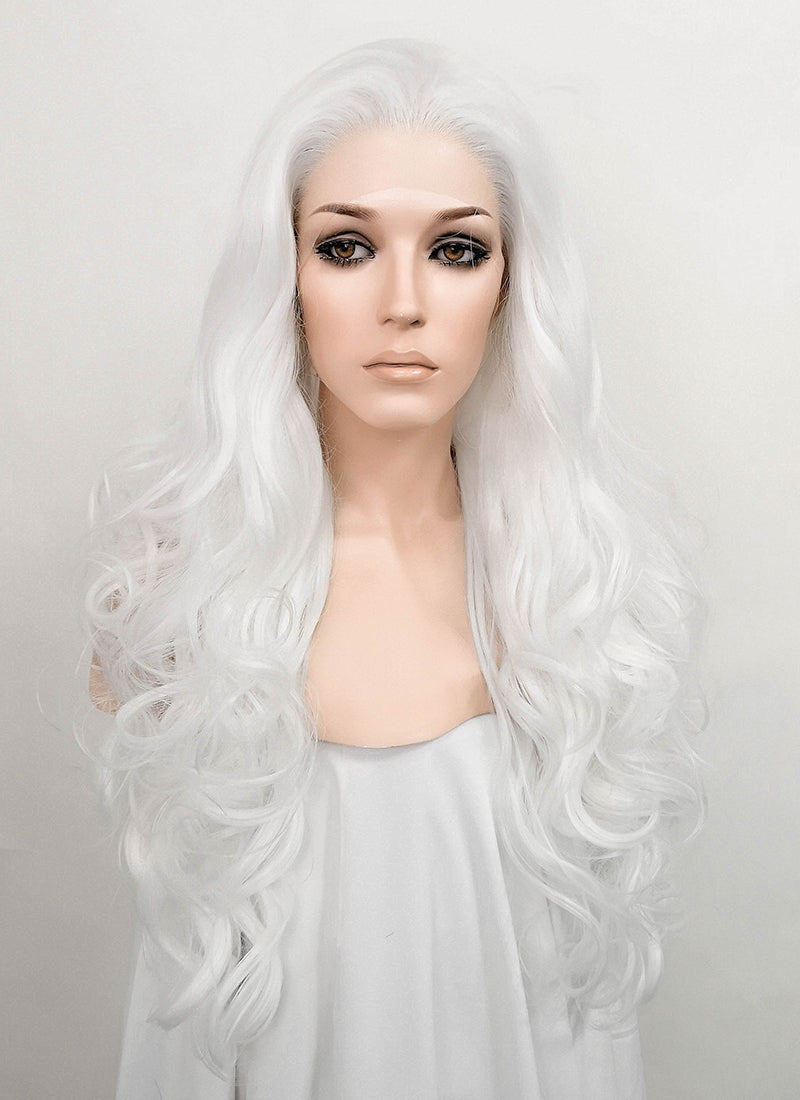 White Wavy Lace Front Synthetic Wig LF532