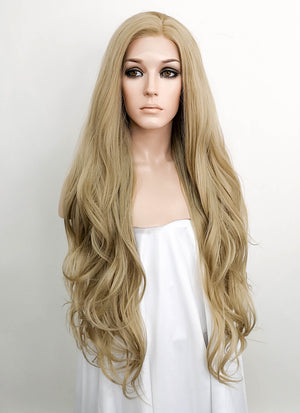 Ash Blonde Wavy Lace Front Synthetic Wig LF640A
