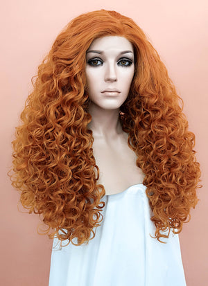 Light Auburn Spiral Curly Lace Front Synthetic Wig LF663P