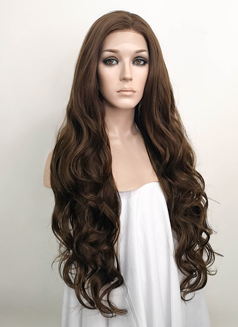 Brunette Wavy Lace Front Synthetic Wig LF694