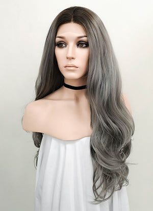Grey With Dark Roots Wavy Lace Front Synthetic Wig LF697F