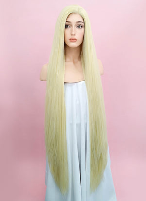 Straight Yaki Blonde Lace Front Synthetic Wig LF701E