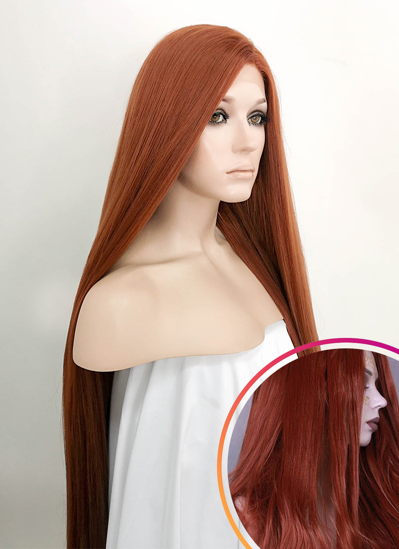 Auburn Straight Yaki Lace Front Synthetic Wig LF701