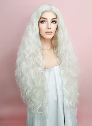 White Wavy Lace Front Synthetic Wig LF741B