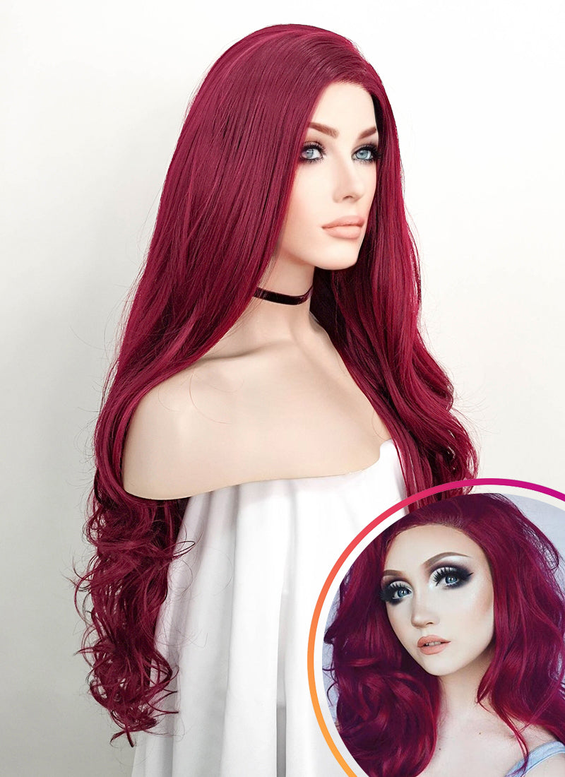 Wavy Reddish Purple Lace Front Synthetic Wig LF814