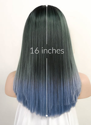 Two Tone Grey With Dark Roots Straight Bob Lace Front Synthetic Wig LF843A