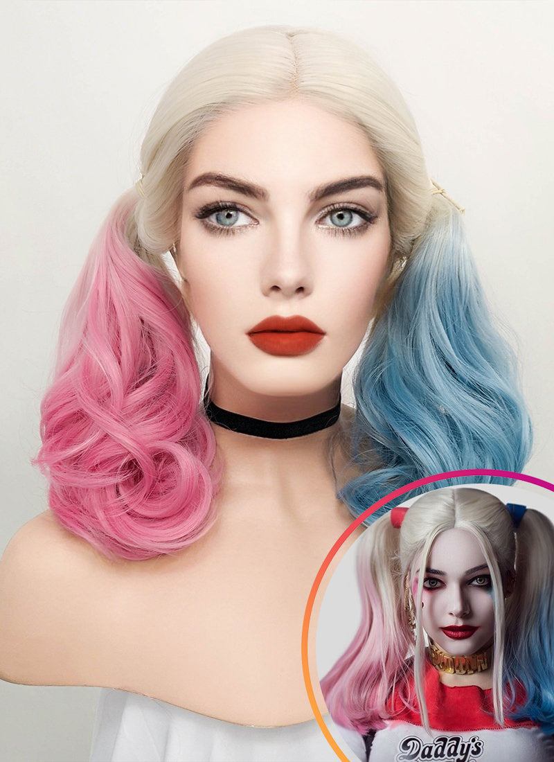 Wavy Blonde Harley Quinn Synthetic Pink Blue Ponytail Lace Front Wig LF853E