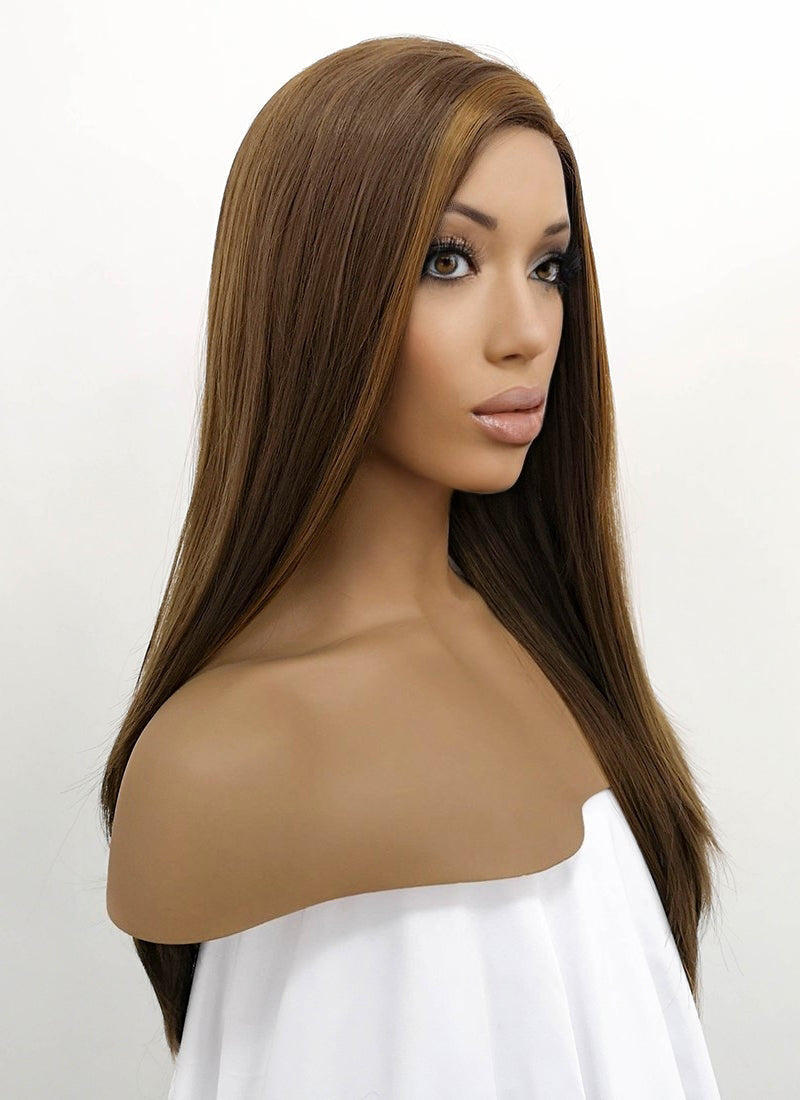 Brunette Straight Lace Front Synthetic Wig LFB006