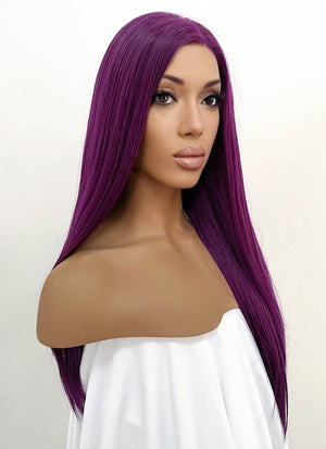 Straight Dark Purple Lace Front Synthetic Wig LFB029