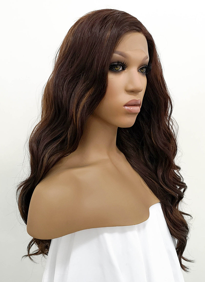 Brunette Wavy Lace Front Synthetic Wig LFB105