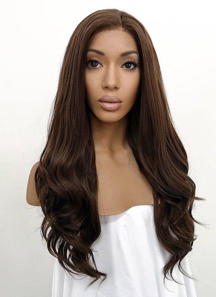 "24"" Brunette Wavy Lace Front Synthetic Wig LFB117 - WigIsFashion Canada"