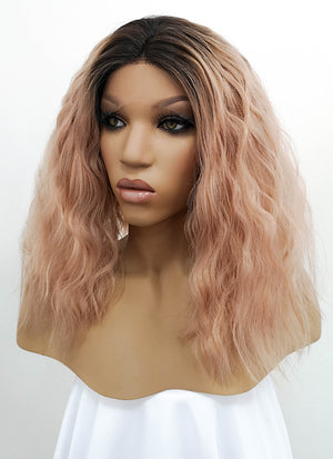 Peach Pink With Dark Roots Curly Lace Front Synthetic Wig LFB1583