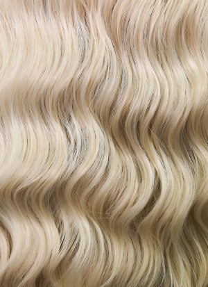 Ash Blonde With Brown Roots Wavy Lace Front Synthetic Wig LFK5501