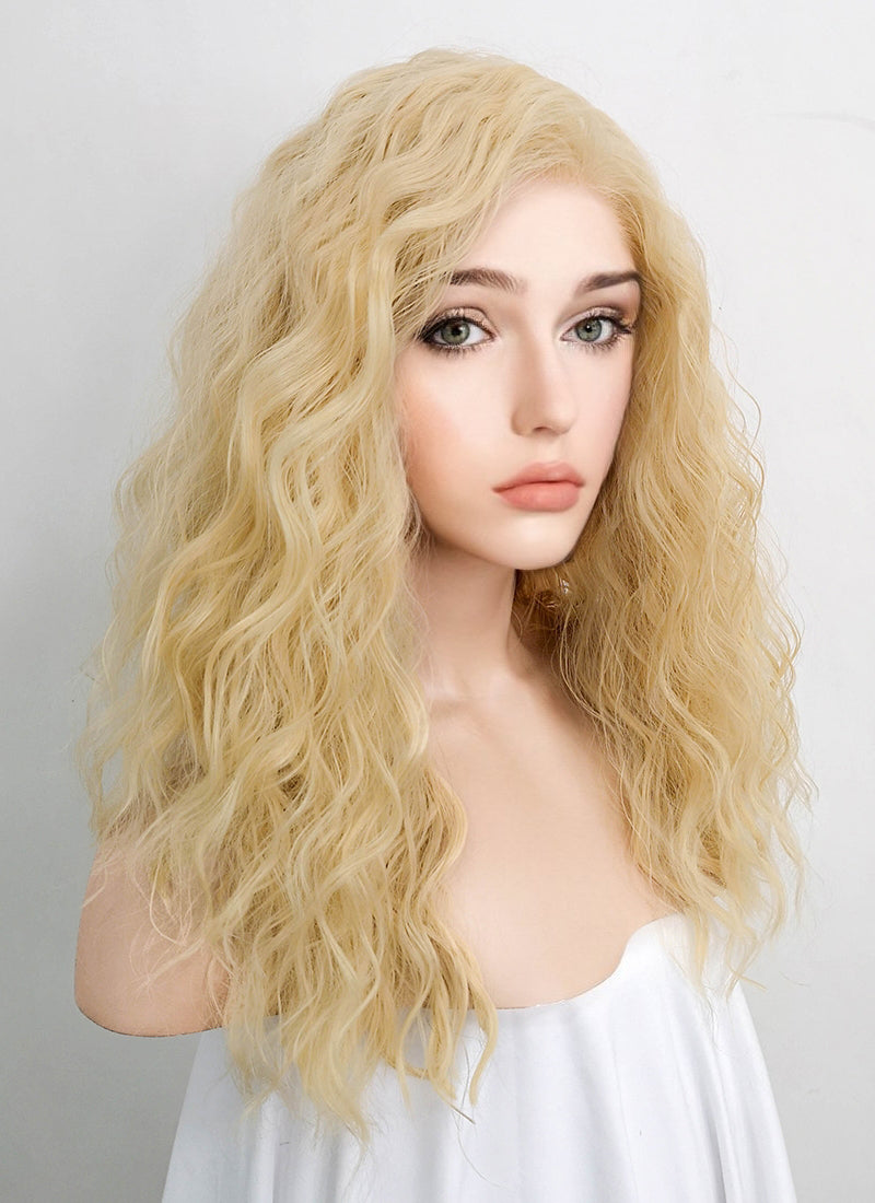 Light Blonde Curly Lace Front Synthetic Wig LFK5514