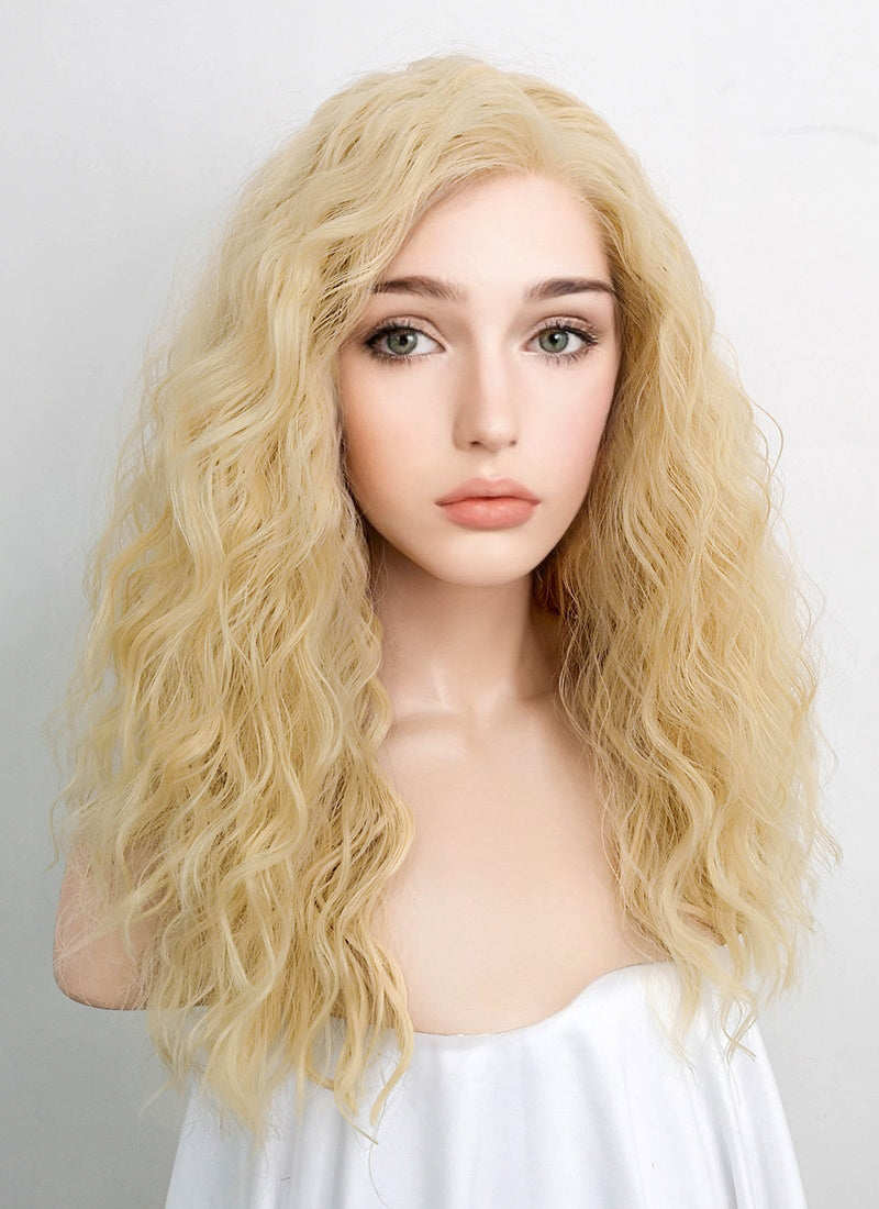 Light Blonde Wavy Lace Front Synthetic Wig LFK5514