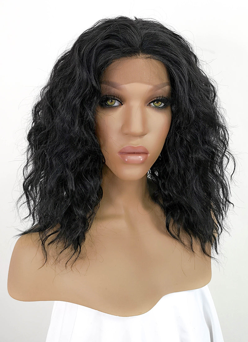 Black Wavy Bob Lace Front Synthetic Wig LFKB5510A