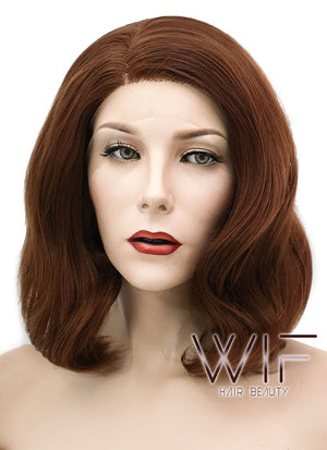 Chestnut Brown Wavy Bob Lace Front Synthetic Wig LF1537B - Wig Is Fashion Australia