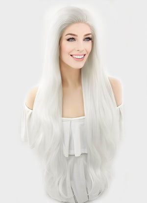 Wavy Platinum White Lace Front Synthetic Wig LF640H