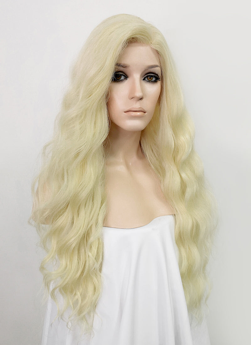 Light Blonde Wavy Lace Front Synthetic Wig LFT004