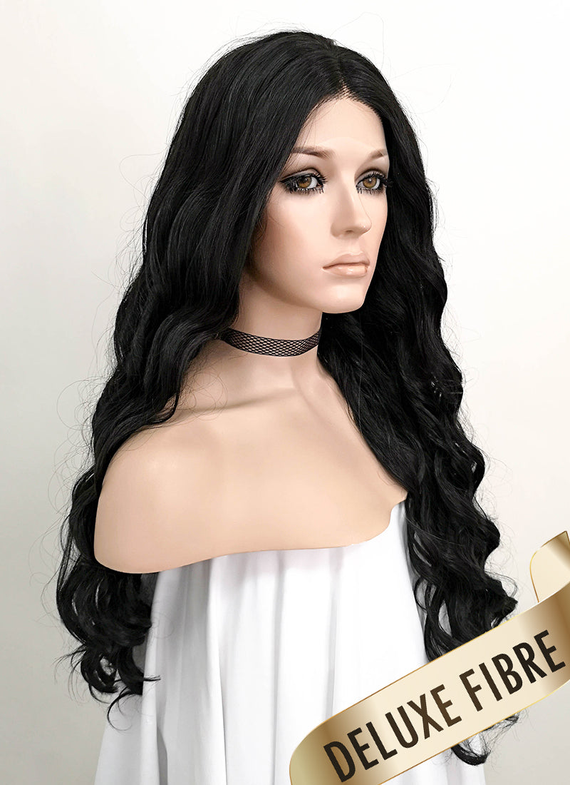 Black Wavy Lace Front Synthetic Wig LNK005