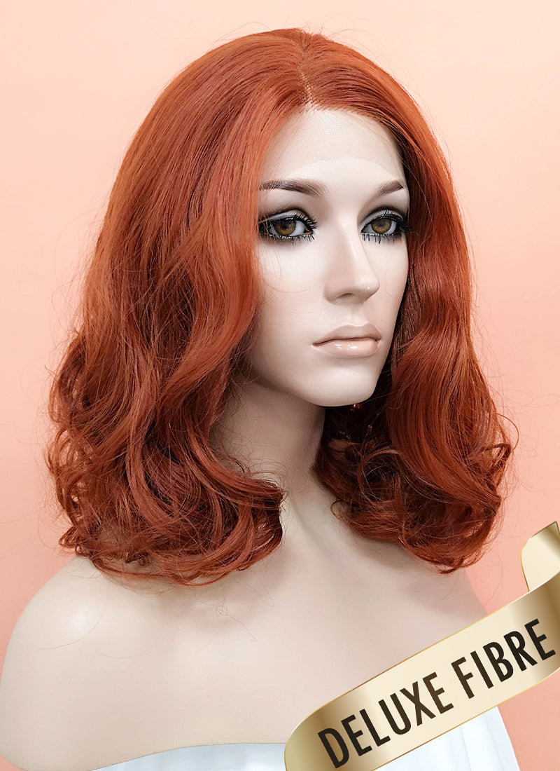 Auburn Wavy Bob Lace Front Synthetic Wig LNK010