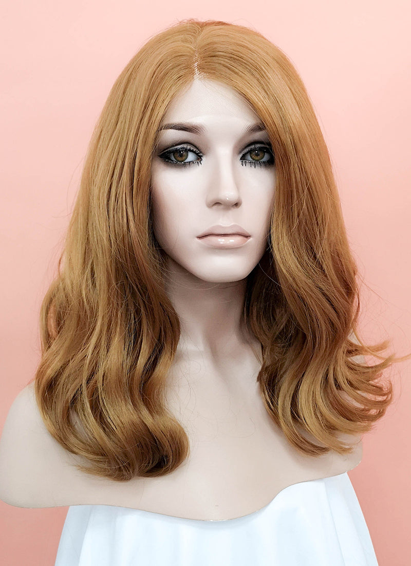 Golden Blonde Wavy Bob Lace Front Synthetic Wig LNK012