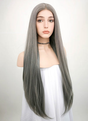 Straight Silver Grey Lace Front Synthetic Wig LW150A
