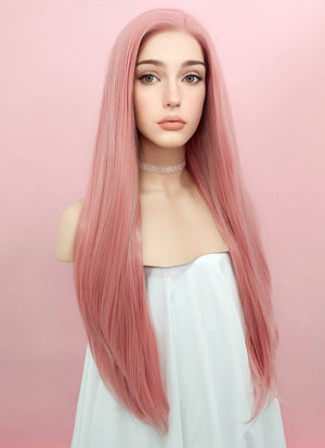 Pastel Pink Straight Lace Front Synthetic Wig LW238B