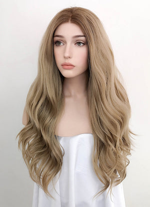 Ash Blonde With Brown Roots Straight Lace Front Synthetic Wig LW4000