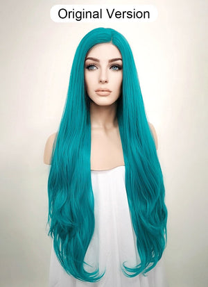 Straight Turquoise Blue Lace Front Synthetic Wig LW714A