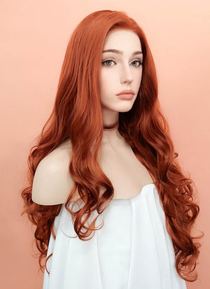 Auburn Wavy Lace Front Synthetic Wig LW735