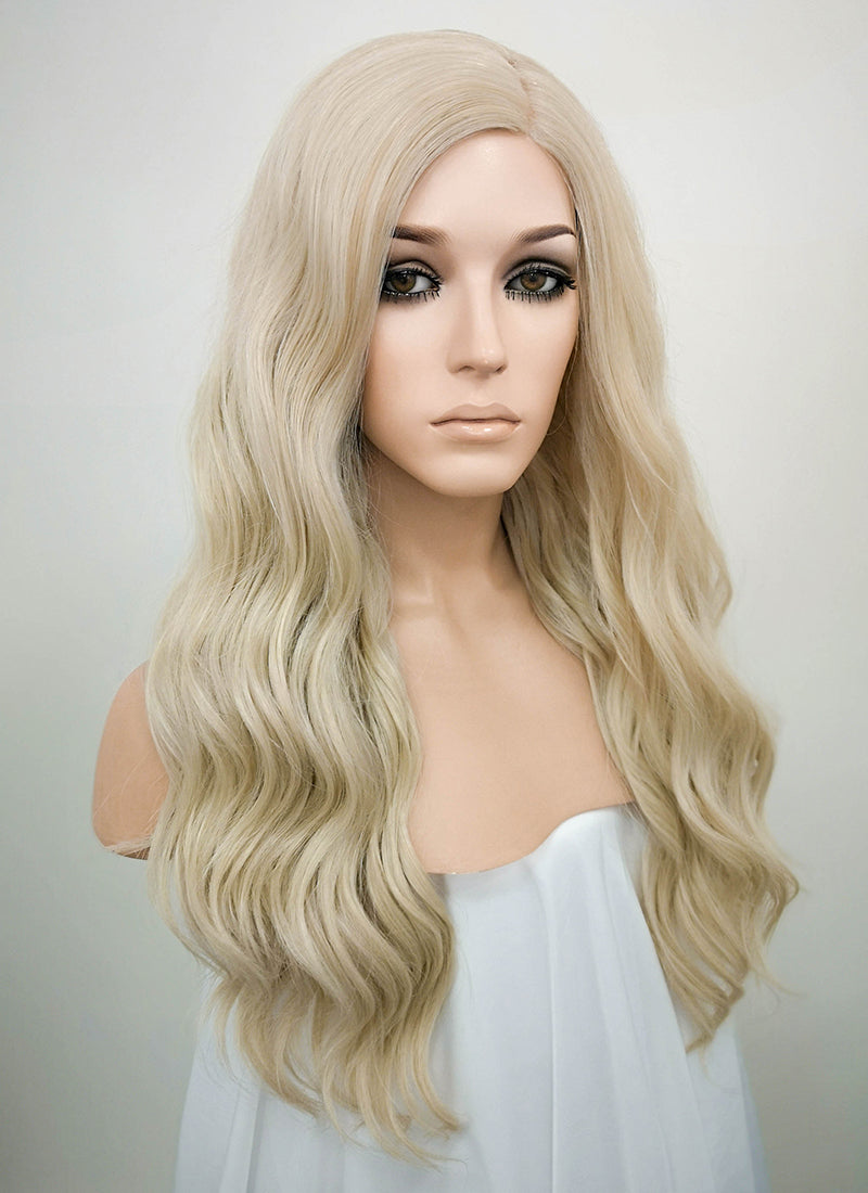 Ash Blonde Mono Parted Glueless Lace Wig MP003