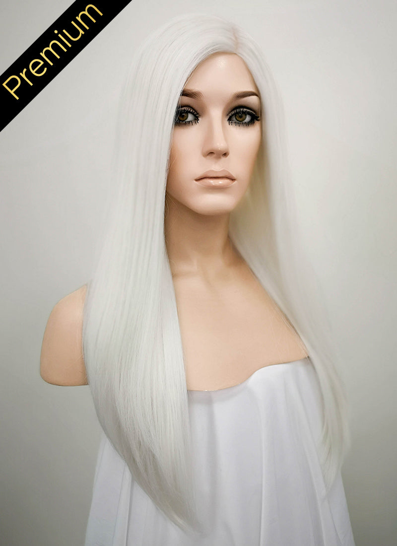 White Mono Parted Glueless Lace Wig MP006
