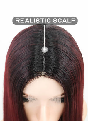 Dark Red With Dark Roots Straight Synthetic Wig NL007
