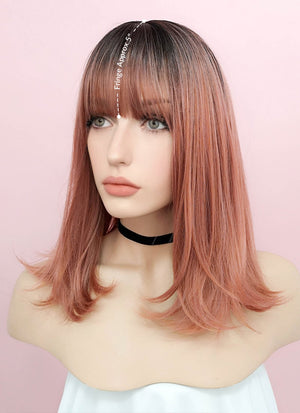 Rose Pink With Dark Roots Straight Synthetic Wig NS035